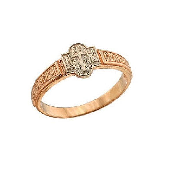 Кольцо из комбинированного золота 'Спаси и сохрани'