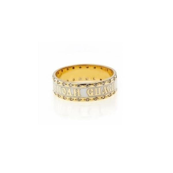 Кольцо из желтого золота 'Спаси и сохрани' с белой эмалью
