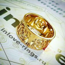 Обручальное кольцо с узорами из желтого золота 585 пробы