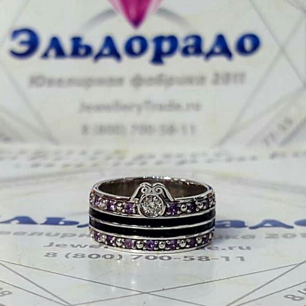 Кольцо из белого золота с эмалью, бриллиантом и аметистами