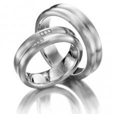 Двойное обручальное кольцо из белого золота