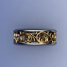 Эксклюзивное обручальное кольцо с узором из желтого и белого золота