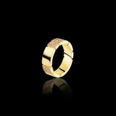 Изящное обручальное кольцо из желтого золота с бриллиантами