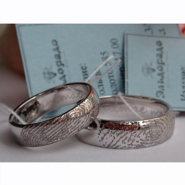 Классическое обручальное кольцо с отпечатком пальца, из белого золота