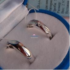 Классическое обручальное кольцо с сердцем и бриллиантами по всему кругу, из белого золота