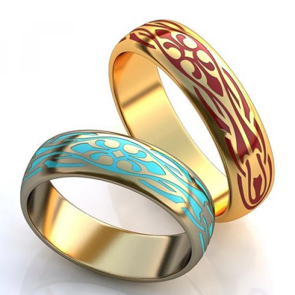 Кольцо из белого золота с эмалью