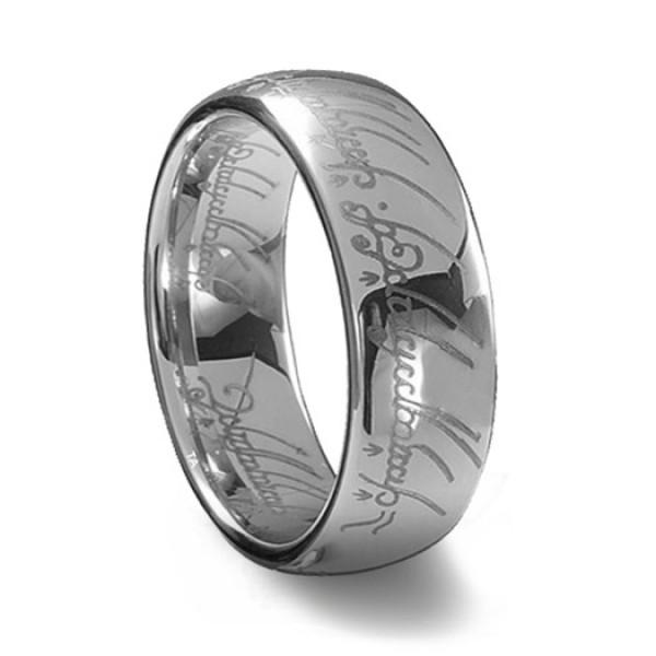 Кольцо из белого золота с гравировкой