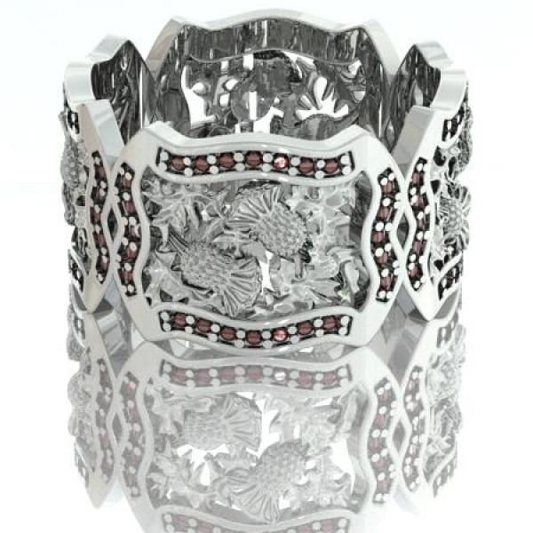 Кольцо из белого золота с рубинами