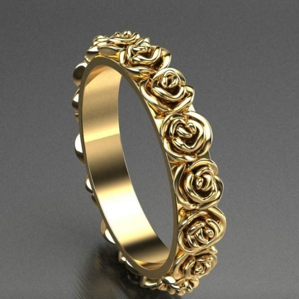 Кольцо из желтого золота из роз