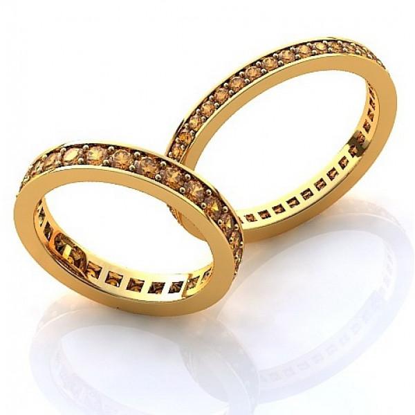 Кольцо из желтого золота с желтыми сапфирами