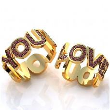 Кольцо из желтого золота с рубинами