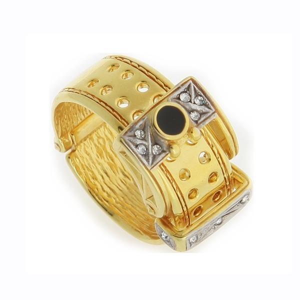 Кольцо из комбинированного золота с агатом и бриллиантами