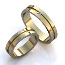 Кольцо из комбинированного золота с алмазом