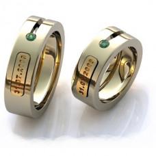 Кольцо из комбинированного золота с изумрудом