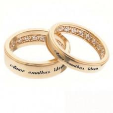 Кольцо из красного золота с бриллиантами и гравировкой