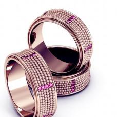 Кольцо из розового золота с рубинами