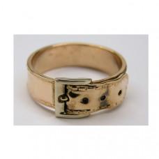 Кольцо 'Потертый ремень' из комбинированного золота