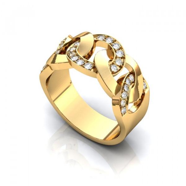 Красивое обручальное кольцо из  желтого золота с бриллиантами