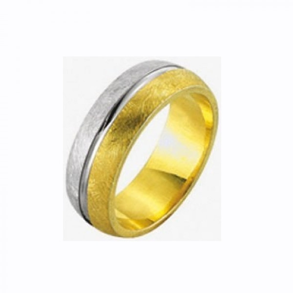 Матовое обручальное кольцо из двух цветов золота