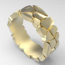 Необычное обручальное кольцо из желтого золота