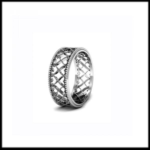 """Обручальное кольцо """"ажурное""""из белого золота"""