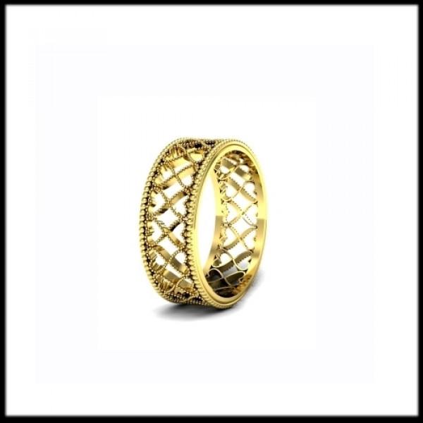 """Обручальное кольцо """"ажурное""""из желтого золота"""