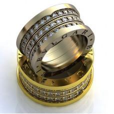 """Обручальное кольцо """"BVLGARI"""" из желтого золота с бриллиантами"""