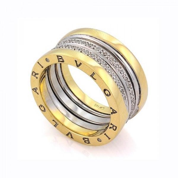 """Обручальное кольцо """"BVLGARI"""" из комбинированного золота с бриллиантами"""