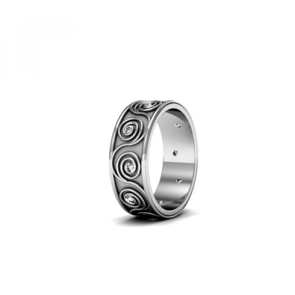 Обручальное кольцо c узором из белого золота с бриллиантами