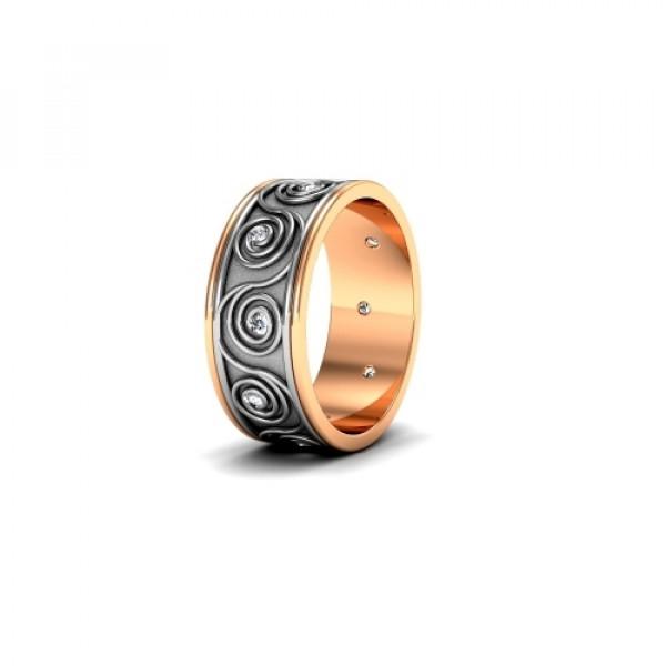 Обручальное кольцо c узором из комбинированного золота с бриллиантами