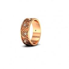 Обручальное кольцо c узором из красного золота с бриллиантами