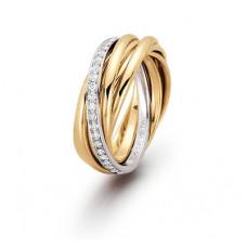 """Обручальное кольцо """"Cartier"""" из комбинированного золота с бриллиантами"""