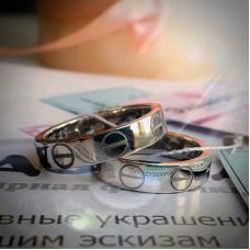 """Обручальное кольцо """"Cartier LEVE"""" из белого золота"""
