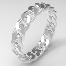 Обручальное кольцо 'Цепочка' из белого золота