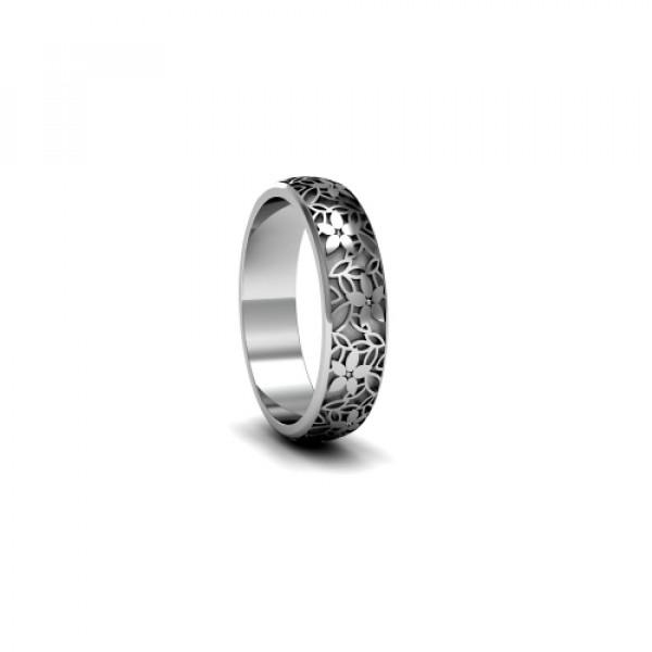 Обручальное кольцо 'Цветы' из  белого золота с бриллиантами