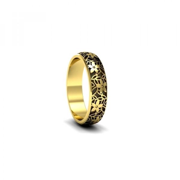 Обручальное кольцо 'Цветы' из  желтого золота с бриллиантами и чернением