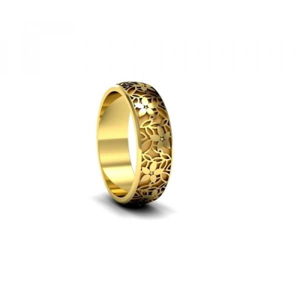 Обручальное кольцо 'Цветы' из  желтого золота с бриллиантами