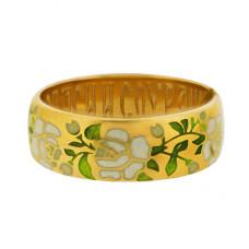 Обручальное кольцо 'Цветы' из желтого золота с эмалью