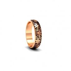Обручальное кольцо 'Цветы' из  розового золота с бриллиантами и чернением