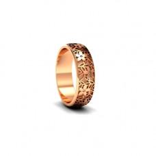 Обручальное кольцо 'Цветы' из  розового золота с бриллиантами