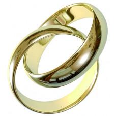 Обручальное кольцо двойное из желтого золота
