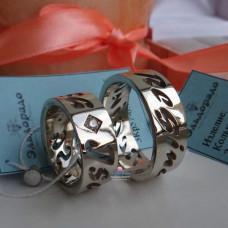 """Обручальное кольцо """"Именное"""" из белого золота"""