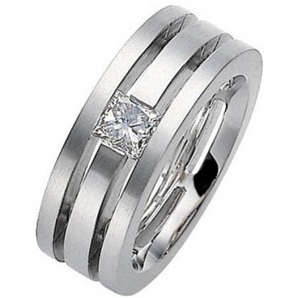Обручальное кольцо из белго золота с бриллиантами