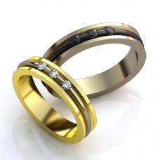 Обручальное кольцо из белого и черного золота с бриллиантами
