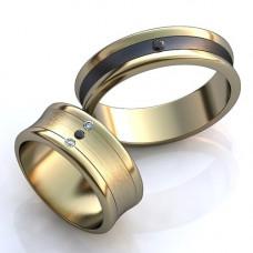 Обручальное кольцо из белого и черного золота с бриллиантом