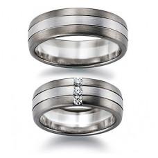 Обручальное кольцо из белого и черного золота