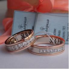 Обручальное кольцо из белого и розового золота с большими бриллиантами