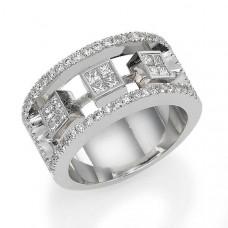 Обручальное кольцо из белого с золота с алмазами и бриллиантами