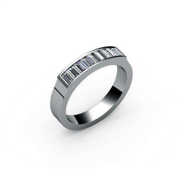 Обручальное кольцо из белого с золота с алмазами
