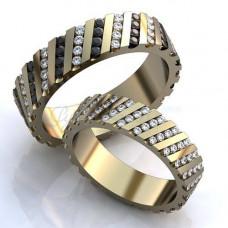 Обручальное кольцо из белого с золота с бриллиантами и сапфирами